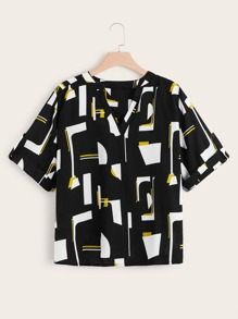 Plus Geometric Print Roll Up Sleeve Blouse