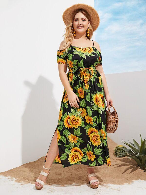 Plus Cold Shoulder Sunflower Print Slit Hem Dress