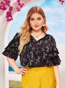 Plus Floral Print Ruffle Trim Blouse