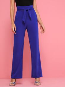 Pocket Side Belted High Waist Pants
