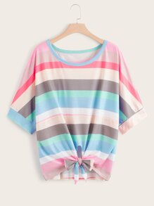 Plus Rainbow Striped Tie Front Tee