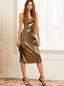 SBetro Split Hem Tunic Metallic Dress