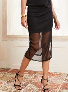 SBetro Solid Split Thigh Mesh Skirt With Lining