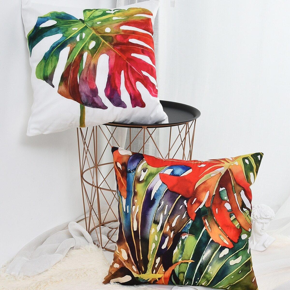 Kissenbezug mit buntem tropischem Blatt Muster 1 Stück