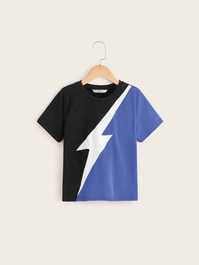 Boys Lightning Print Colorblock Tee