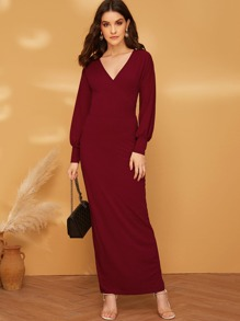 Surplice Neck Split Hem Rib-knit Pencil Dress Without Belt
