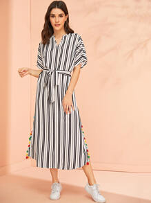 Colorful Tassel Trim Side Belted Striped Dress