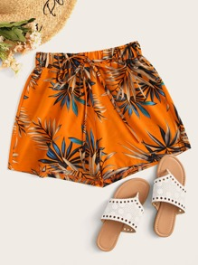 Drawstring Waist Tropical Print Shorts