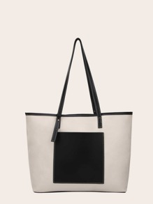 Two Tone Canvas Tote Bag