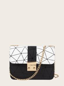 Geometric Print Flap Chain Bag