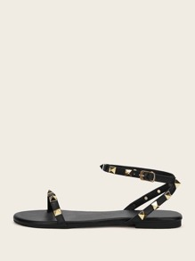Two Part Studded Decor Sandals