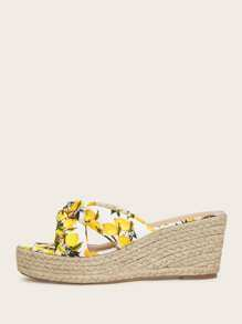 Open Toe Lemon Print Espadrille Wedges
