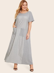 Plus Pocket Front Heather Grey Striped Dress
