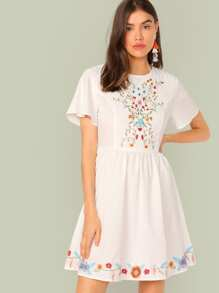 Embroidered Floral Butterfly Sleeve Dress