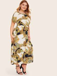 Plus Mixed Scarf Print Self Belted Dress