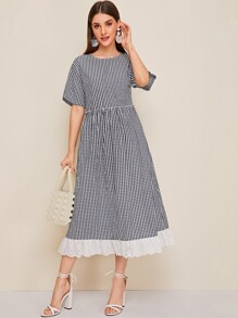 Gingham Print Eyelet Embroidered Hem Dress