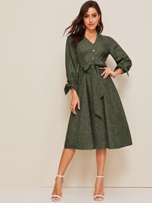Single Breasted Knot Cuff Belted Marled Dress