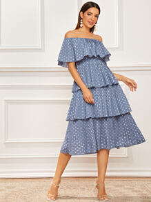 Off Shoulder Polka Dot Layered Pleated Dress