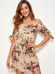Floral Print Knotted Cuff Bardot Tunic Dress
