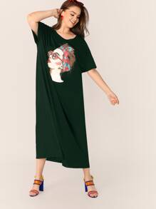 Plus Figure Print Maxi Tee Dress