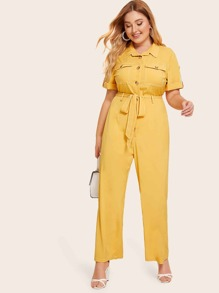 Plus Contrast Stitch Rolled Tab Sleeve Belted Utility Jumpsuit