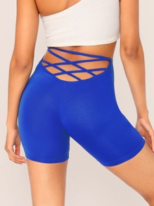Solid Criss-cross Cycling Shorts