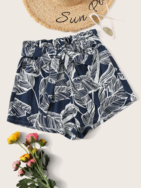 e77629160689 Paperbag Waist Tropical Print Belted Shorts | SHEIN