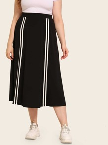 Plus Striped Tape Skirt