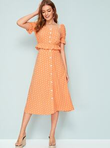 Buttoned Puff Sleeve Polka Dot Peplum Top & Skirt Set