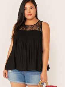 Plus Lace Yoke Pleated Smock Top