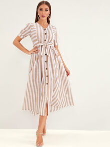 Striped Button Front Knot Shirt Dress