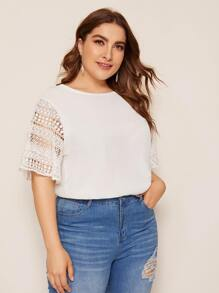 Plus Solid Lace Sleeve Contrast Top