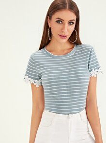 Lace Contrast Rib Knit Striped Top