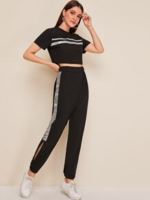 Glitter Tape Contrast Tee & Split Side Pants Set