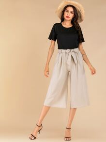 Solid Tee & Knot Front Wide Leg Pants Set