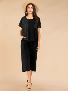 Striped Contrast Pocket Patched Tee & Wide Leg Pants Set