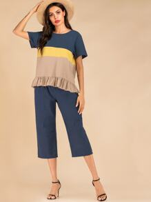 Colorblock Ruffle Hem Top & Dual Pocket Plicated Pants Set