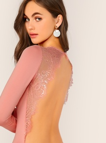 Eyelash Lace Trim Backless Solid Bodysuit