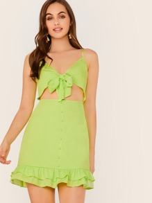 Tie Front Cutout Button Front Layered Ruffle Dress