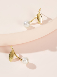 Leaf Bar & Faux Pearl Decor Earrings 1pair