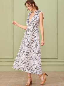 Dot Print Plunge Neck Knotted Shoulder Dress