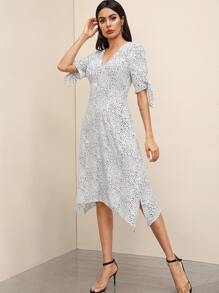 Dalmatian Print Hanky Hem Knotted Cuff Dress