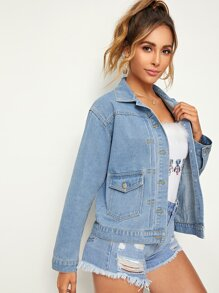 Light Wash Pocket And Button Front Denim Jacket