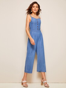 Button Front Denim Overall