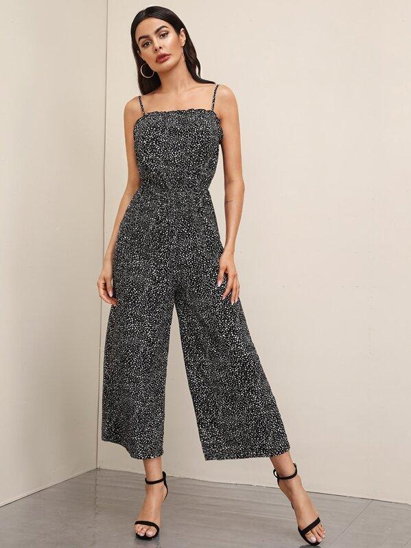 481101d79365b Dalmatian Print Frill Trim Wide Leg Cami Jumpsuit   SHEIN