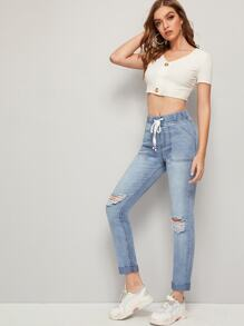 Drawstring Waist Ripped Detail Jean