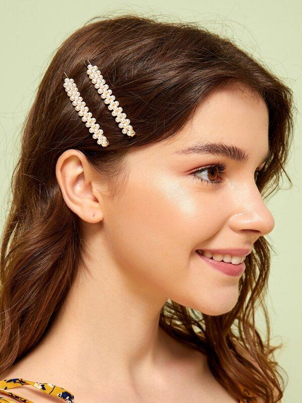923fa4c686 Faux Pearl Decor Hairpin 1pair | SHEIN UK