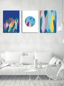 Abstract Colorful Leaf Wall Art Print Without Frame 1pc
