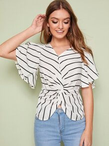 Striped Twist Front Butterfly Sleeve Blouse