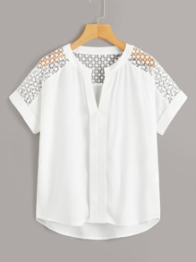 Hollow Out Crochet Dip Hem Blouse